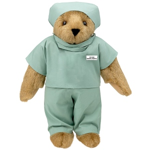 Then again, this bear could be a nurse for you sometimes can't really tell in the operating room. Then again, nurses usually wear scrubs in the hospital while doctors don on lab coats outside the OR.