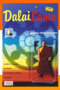 """Comes with an A-12 automatic and silencer as well as a self-aiming fire-and-forget laser pistol. What? Okay, now I know Jesus is already ascended into Heaven by now, yet there is still a Dalai Lama around who's exiled in India. And no, he isn't known in Buddhism as a """"God of a Thousand Arms."""" Not to mention, he doesn't even believe in violence. Still, kind of feel tempted to send him one of these."""