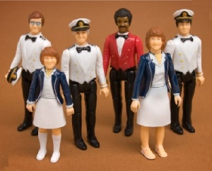 Okay, these consist of Captain Stubing, Vicki, Julie, Gopher, Isaac, and Doc Bricker. Yeah, and they even have a toy ship sold separately that you can put these figures in. Sure it ran for 8 seasons and was very popular. But still, I don't think a play set tie in would do any favors for the sponsors, especially during the 1980s.