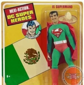 "Comes with his own sombrero. Nevertheless, I have to admit, Superman sure can pull off that Latin lover look from south of the border. Still, I think Mexican kids would rather have a regular Superman action figure than this one. Not to mention, ""hombre"" is the correct term for ""man"" in Spanish."