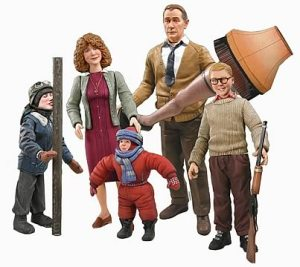 Now this set includes: Ralphie with his Rough Rider BB gun, the Old Man with his Leg Lamp, Flick with his tongue sticking to flag pole, Mom, and Randy. They also have Scut Farkas and Ralphie in a pink bunny suit for those interested.