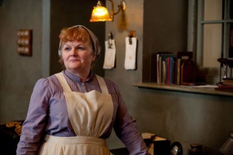 Cook: At Downton Abbey, this is the person responsible for cooking all the food and supervising the kitchen. This job goes to a cantankerous and no nonsense middle-aged woman who rules her kitchen with an iron rod and quick tongue. But she can make anyone with a strong anti-British culinary prejudice enjoy English food. Doesn't permit profanity unless she's doing the swearing. Also takes a lot of frustrations on her staff. Hey, what do you expect from someone who has to cook 8 hot meals a day?