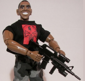 Armed with his very own machine gun and dressed up like The Punisher with an intimidating, Seal Team 6 Obama will stop at nothing to rid the world of Osama Bin Laden even if it means mowing down uncooperative Congressional Republicans. Still, I put Obama on here just to balance Palin and Coulter out.