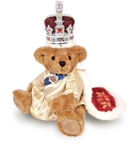 Yes, this is a Teddy Bear of the Queen of Great Britain in her royal regalia. And yeas, the crown does seem to be bigger than her head. Still, she's still so cute as a bear if you look at it.