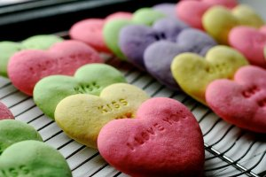 Of course, these sugar cookies probably taste much better than the real candy hearts which I say are basically disgusting. Seriously who thought those candy hearts were a great idea?