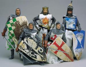 Now this consists of Arthur, King of the Britons, Sir Bedevere the Wise and Flatulent, Sir Lancelot the Homicidally Brave, Sir Galahad the Not-So-Pure, and Sir Robin the Not-So-Brave as Sir Lancelot. Each come with their own weapons. Coconut banging squires sold separately. Horses. scales, duck, and minstrels not included.