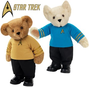 No, the Spock Teddy Bear isn't a dog. He just has his ears turned pointy like a dog's because he's a Vulcan. Also, I wonder if Captain Kirk's bear has a thing for alien green bear girls or just girls in general.