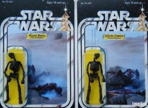 Basically, I hear that most toy critics declared these the Star Wars action figures most likely to traumatize children. Seriously, Luke's aunt and uncle are literally burnt to a crisp here. And once outside the packaging, you can't really tell the two apart.