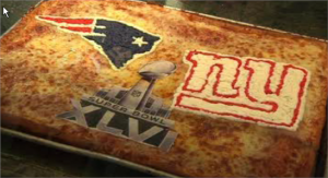 Man, that's one amazing pizza. Still, I know quite well that the Giants won this one and Eli Manning got another MVP trophy, to his older brother Peyton's dismay.