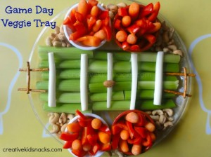 Okay, I bet this is the low budget version of the Super Bowl veggie platter. And they have an almond to act as a football. For those who have limited cooking skills, you might want to try this.