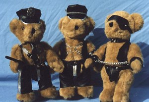 Sure they may be adorable but these cute little Teddy Bears are certainly not for kids. Nevertheless, they're pretty funny in full gimp gear in all.