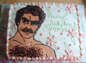 Then again, maybe Emma is a fan of Tom Selleck and his hairy chest. Still, doesn't help that he looks like a creepy 1970s porn star on this cake. By the way, his chest hair is represented by sprinkles.