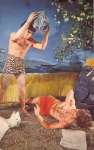 My God, this is just a horrible execution that it seems like something you'd see on the Flintstones. Also, makes you wonder whether Cain killed Abel because God thought Abel's sacrifice was greater or that Abel was making fun of Cain's leopard skin loincloth.