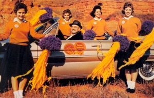 Of course, what's worse is that this high school is called Medicine Lodge and it's located in Kansas. Must have a Native American mascot, too, and a real stereotypical one at that. Great (sarcasm). Still, love those comet pom poms.