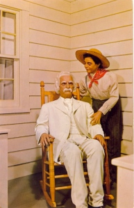 All Mark Twain ever wanted for his birthday was either a chair rocking or a rocking chair lap dance with Huckleberry Finn. Still, the two seem a bit too friendly with each other.
