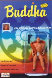 Comes with fighting staff Magnum 66 Automatic and invincible holy orange cape. Seriously, wasn't the Buddha known for peace and seeking enlightenment? So why the hell does he have an automatic weapon on him? Looks like Christianity isn't the only religion badly portrayed in action figures.