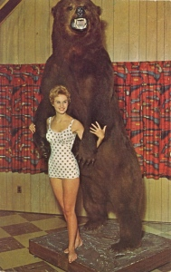 Okay, PETA is going to kill me for this. We all know the grizzly bear is a hunting trophy and the swimsuit woman is only there for the fanservice. Still, pretty funny if you ask me.