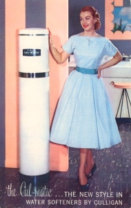 Because before she had a water softener in her house, Connie had get her plumbing clean on a regular basis due to the metal cation buildup that makes hard water less compatible with soap. Hey, it was Joey's idea to live near an industrial facility where he worked, not hers.