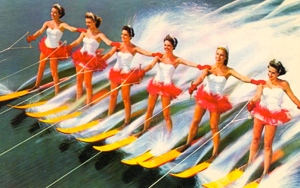 This is a poster of the Aquamaids (perhaps Aquaman's lady entourage) from Florida's Cypress Gardens. And yes, they're on this postcard for the fanservice. Still, the gardens are pretty enough so putting these women water skiing kind of unnecessary.