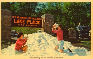 """Of course the sign says: """"It's no mirage-It's real snow."""" Sure it's real snow, like the snow they have at Seven Springs during the winter when there isn't any elsewhere. Seriously, there must be a snow making machine somewhere."""