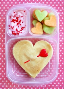Of course, there's heart fruit salad and heart pancakes with a heart pin through them. Not to mention, sprinkle sauce to top them. Still, seems made for a kid.