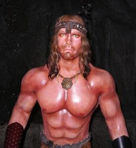 Seems they got the chiseled chest proportions right. However, this basically bears practically no resemblance to Ahnold from Conan the Barbarian. Not to mention, he seems to spend too much time in the sun which is taking a toll on his delicate skin.