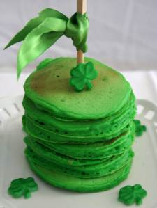 No surprise if this person used any green maple syrup on these. Yet, the stack seems quite high for a standard serving.