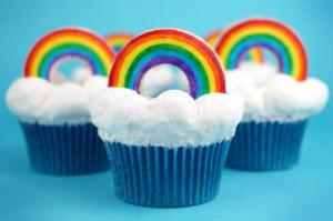 I'm not sure if the rainbows are edible but the cloud icing sure is fluffy.