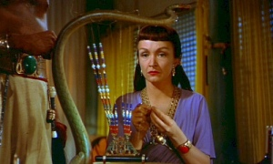 Though most famous as Moses' adoptive mother in The Ten Commandments, Dutch born Nina Foch often played aloof, and often foreign women of sophistication. She was also blonde by the way and started in horror movies.