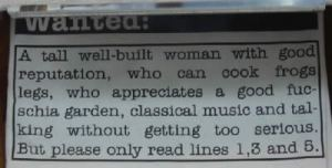 "When you just read lines 1, 3, and 5 it says: ""A tall well-built woman with good legs who appreciates a good fucking without getting too serious."" Yeah, he's not looking for a relationship with a woman who can cook frog legs and likes fuchsia gardens and classical music. He wants to get laid."