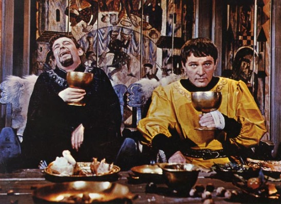 Richard Burton and Peter O'Toole in the 1964 Becket which pertains that the relationship Henry II shared with his friend Thomas Becket as having a gay subtext. Also it's costume design would be the equivalent of a Revolutionary War picture in which the Founding Fathers are dressed in 20th century business suits. Still, O'Toole and Burton: Drinking buddies with a combined total of 15 Oscar nominations but not a single win.