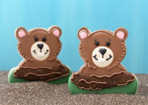 I like how they used the teddy bear heads and made them pop out of their holes. Also like the use of sugar and icing as if it was dirt. Still, these are adorable.