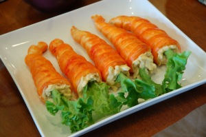 And it seems that these carrots are stuffed with egg salad and lettuce as far as I can see. By the way, the carrots seemed to be made from biscuit rolls, possibly from Pillsbury.
