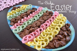 Now these consist of chocolate rabbit cookies as well as light green, pink, and yellow chocolate covered pretzels on an Easter egg dish.