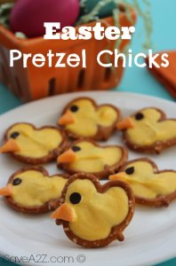 Who knew that regular pretzels from a grocery store could be just the right shape to make cute little chickies out of them? Then again, they may not be the exact shape, but close.