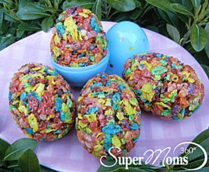 Of course, you might remember the Fruity Pebbles shamrock treats from my last post for Saint Patrick's Day delectables. Nevertheless, why the Flinstones celebrate Easter and Christmas when it makes no sense, I don't have the slightest idea.
