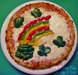 Of course, since peppers only come in red, green, and yellow, the rainbow doesn't have a lot of color variation. Yet, this pizza is quite inventive and I do like the shamrocks.