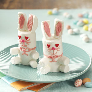 Of course, these are actually quite easy to make with marshmallows, icing, and sprinkles. Yet, be careful where you place the eyes.
