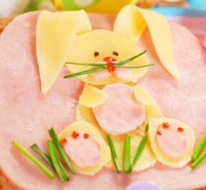 Now the rabbit is made from cheese and sitting on the grass. But if you must have your kid eat this during Lent or Holy Week, make sure you don't put it in their lunch on Fridays.
