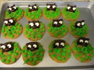 If these were Halloween cookies, they'd work well as tombstones. Yet, I guess chocolate covered cookies were used for groundhogs.