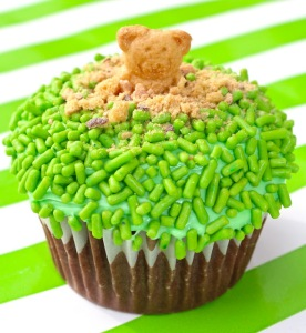 Well, of course, some of the crumbs serve as dirt as well but light soil means clay. Also, the cupcake is covered in green sprinkles for grass.