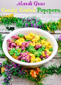 Of course, candy coated popcorn may be festive for Mardi Gras but it's not good for you, especially for your teeth. Yet, I do like how it looks in this photo.