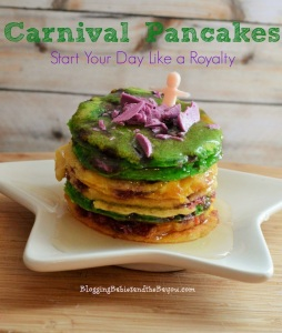 Of course, these pancakes are yellow, purple, and green for Mardi Gras. Perhaps they should add green eggs and ham to it as well, but I'm not Dr. Seuss.