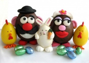 Sure bunnies and chicks are great Easter motifs. But my favorites of these have to be Mr. and Mrs. Potatohead for obvious reason. Seriously, this person got them right on.