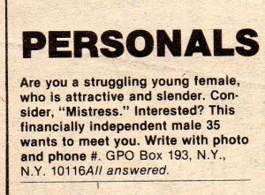 "Ladies, remember when a guy's personal ad contains the word, ""mistress"" understand that he's married, not looking for anything serious or long term, and won't leave his wife for you. Nice try, Don Draper."