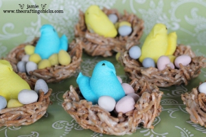 Now these look cute but I'm not sure if I want to take out the peeps first before eating the nests, especially if the eggs are jelly beans.