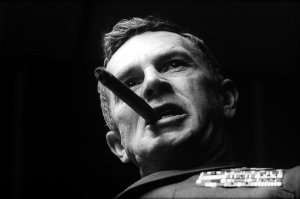 "General Jack D. Ripper: ""I can no longer sit back and allow Communist infiltration, Communist indoctrination, Communist subversion, and the international Communist conspiracy to sap and impurify all of our precious bodily fluids."" Yes, Sterling Hayden can act like a crazy guy. You should hear about his adventures during WWII in the O. S. S."