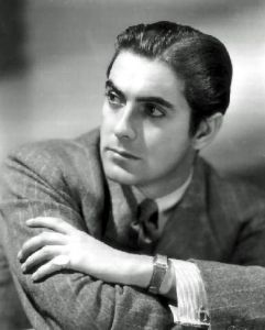 Born in a showbiz family that spanned generations, Tyrone Power appeared in dozens of films in the 1930s to the 1950s as a matinee idol appearing from romance and swashbuckling movies like The Mark of Zorro to serious drama like The Razor's Edge. He also served in the Marines in WWII. Tragically, he died of a heart attack at 44.