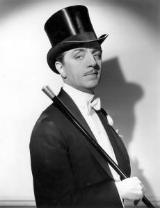 William Powell may not have been a handsome leading man, but his voice and fashion sense made him perfect in movies like My Man Godfrey and The Thin Man series. Was married and divorced to Carole Lombard, engaged to Jean Harlow, and starred with Myrna Loy in 14 films (though they never dated in real life).