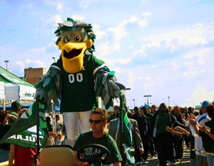"Now the pelican mascot is understandable with Tulane being in Louisiana. However, the green feathers and the crazy smile are kind of disconcerting. Also, when it came to naming it most of the college students wanted it to be, ""Pecker"" but it was named ""Riptide"" for obvious reasons."